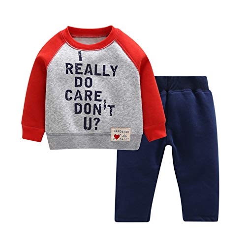 Evelin LEE Baby Kids 2pcs Outfits Long Sleeve Letter Pullover Sweatshirts&Sports Pants