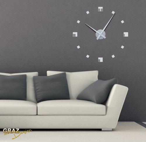 vinilo de pared decoracin de pared con reloj retro para el saln pasillo plateado amazones hogar