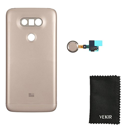 (Back Cover Replacement With FingerPrint Button Flex Cable Compatible with LG G5 H850 H820 H830 VS987 LS992 F700(Gold)VEKIR Retail Packaging )