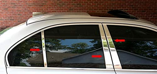 4-Door, Sedan Compatible with BMW 5 Series 2011-2016 707Motoring Stainless Polished Chrome Pillar Post Trim 6PC