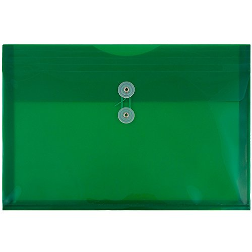 - JAM PAPER Plastic Envelopes with Button & String Tie Closure - Legal Booklet - 9 3/4 x 14 1/2 - Green - 12/Pack