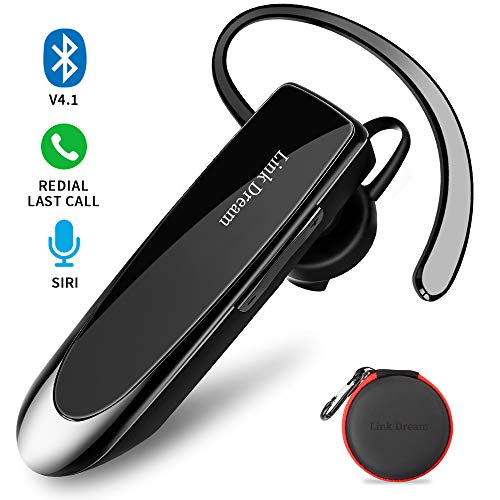Bluetooth Earpiece Link Dream Wireless Headset with Mic 24Hrs Talktime Hands-Free in-Ear Headphone Compatible with iPhone Samsung Android Smart Phones