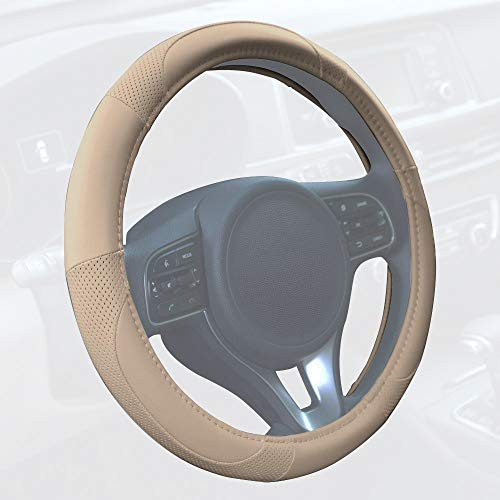 - Motor Trend SW-809-BG Beige Classic Stitch Perforated Simulated Leather Steering Wheel Cover