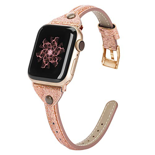 Wearlizer Thin Leather Compatible with Apple Watch Bands 38mm 40mm for iWatch SE Womens Slim Smooth Bling Strap Leisure Cute Glitter Rivet Shiny Wristband (Gold Clasp) Series 6 5 4 3 2 1-Orange