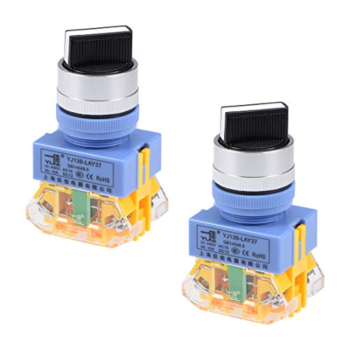 - uxcell Rotary Selector Switch 2 Positions 2NO Self-Lock Latching AC 440V 10A 22mm Panel Mount Set of 2