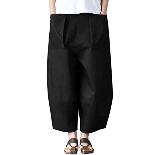 Women's Crop Pants,Casual Solid Pocket Linen Loose Wide Leg Trousers by-NEWONESUN