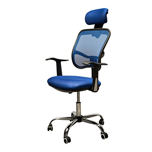 Adjustable Mesh Task Computer Desk Office Chair High Back with Headrest Swivel Blue #507 (Argos Rattan Garden Furniture Set)