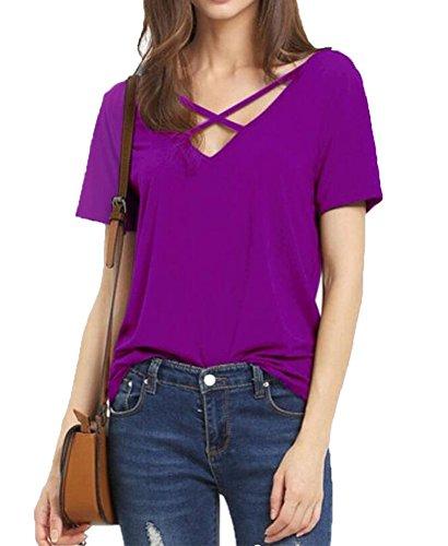 Tops Croix Violet pour Style Unique Blouse Filles Shirt Chemise Avant 51twxqFT