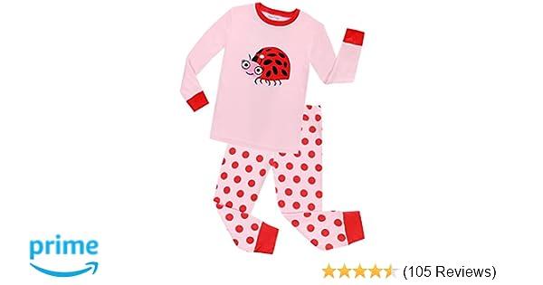 29d8d9d1d Amazon.com  shelry Girls Ladybug Pajamas Christmas Cotton Long ...