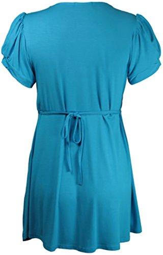 Neue Damen Plus Größe Juwel Knopf Trim Short Sleeve Scoop Neck Kleid 14–28 Gr. 26 - 28, Türkis - Türkis