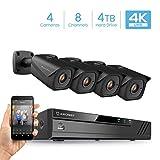Cheap Amcrest 8CH 4K Security Camera System w/H.265 4K (8MP) NVR, (4) x 4K (8-Megapixel) IP67 Weatherproof Metal Bullet POE IP Cameras (3840×2160), Pre-Installed 4TB Hard Drive (Black)