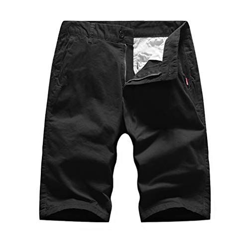 Seaintheson Men's Cargo Pants,Outdoor Multi Pocket Sports Shorts Casual Loose Solid Color Straight Shorts for Men Black