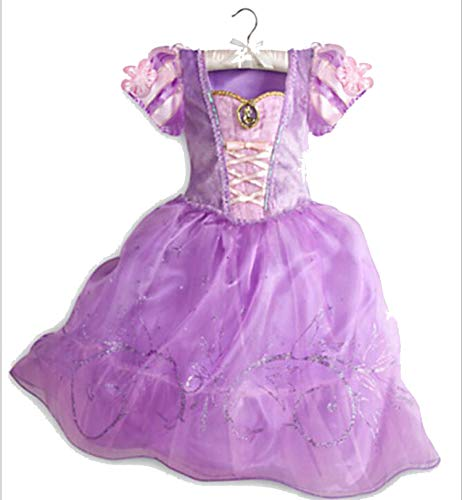 Princess Dresses Rapunzel Aurora Kids Party Halloween Costume Clothes,Ivory,Line ()