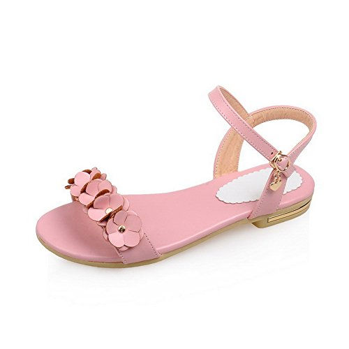 AmoonyFashion Womens Low-heels Soft Material Solid Buckle Open Toe Sandals with Flowers Pink pIEtvTsLD
