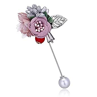 Multi color handmade fabric flowers pin for women