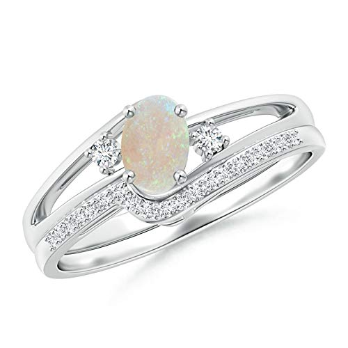 - Oval Opal and Diamond Wedding Band Ring Set in Platinum (6x4mm Opal)