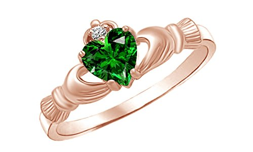 Jewel Zone US Heart Shaped Simulated Emerald & Cubic Zirconia Claddagh Ring in 14k Rose Gold Over Sterling Silver Ring Size - 6