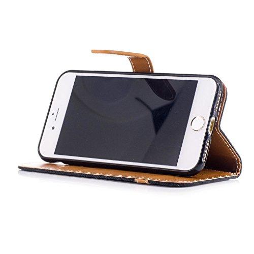 Roi Boutique Étui pour Apple iPhone 8Jeans Cover Housse Coque Case Noir