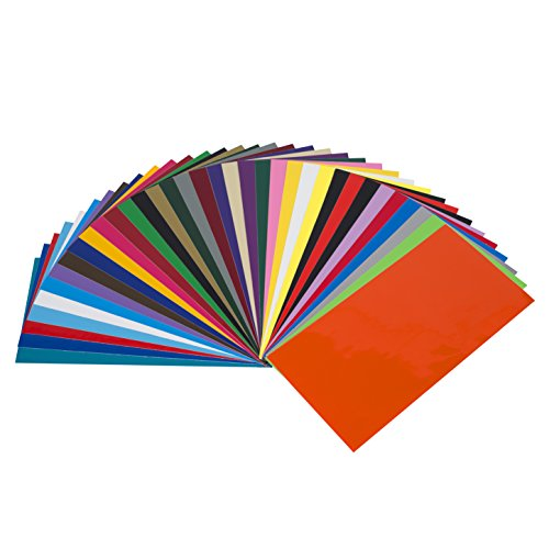 Angel Crafts Adhesive Vinyl Sheets: Permanent Vinyl for Cricut, Silhouette Cameo,  Oracal Cutters - 35 Colors, Indoor Outdoor Craft Vinyl Adhesive, Non-Stretchy Vynal, Made in USA - 6 inch by 12 inch ()