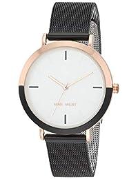 Nine West NW/2515 - Reloj de pulsera de malla para mujer, NW/2515RGBK, Negro/Oro rosa
