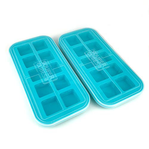 Souper Cubes 2 Tablespoon Freezing Tray with lid, Aqua color, Pack of Two