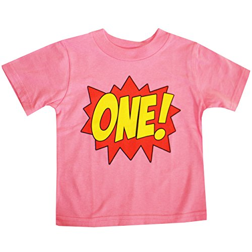 [Happy Family Clothing Little Girls' Superhero First Birthday T-Shirt (18 Months, Hot Pink)] (Hot Superhero Women)