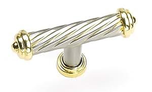 Laurey 57808 Cabinet Hardware 2-1/2-Inch Capri Knob, Brushed Satin Nickel and Gold