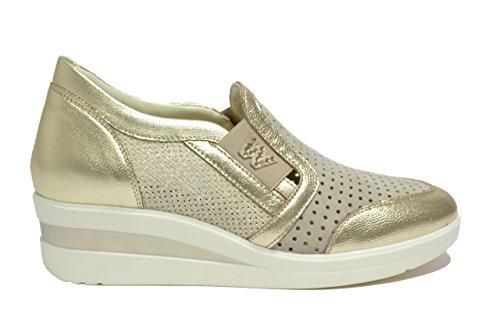 Melluso Slip on sneakers zeppa platino scarpe donna Walk R20109