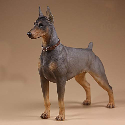(AINIYF 1/6 Scale Doberman Pinscher Figurine Statue 7.2X2.8X6.9 Inch Resin Animal Dog Decorative Collectables for Home (Color : B))