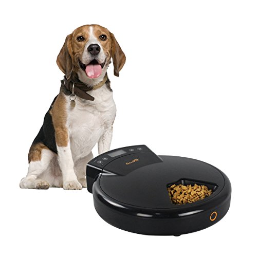GemPet 5 Meal Trays Automatic Pet Feeder for Cats & Dogs, for Dry / Semi-Wet Food, 240mlX5, Dual Power System (adapter&batteries)