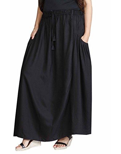 The Harem Studio Womens Girls Casual Long Skirt In A-Shape - Full Elastic Waist - 100% Cotton - 2 Falling Pockets (Black Color)