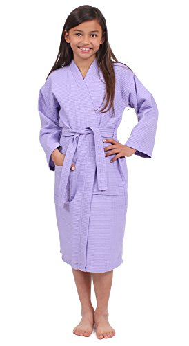 La La Spa Robe - Turkuoise Girls Waffle Robe, Spa Party Bathrobe Made in Turkey (1023-LAV-L)