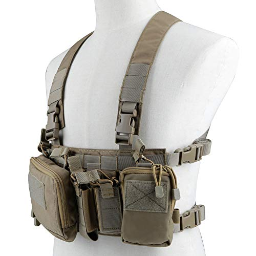 - Chest Rig for Airsoft Tactical Vest with 5.56 M4 Mag Pouch 9mm Pistol Magazine Pouches and Storage Bag Modular Harness for Shooting Wargame Paintball Military Hunting