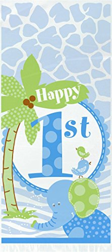 First Birthday Goody Bags - Blue Safari First Birthday Cellophane Bags, 20ct
