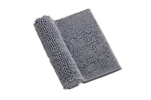 Ticova Anti-Slip Bathroom Rug, 20×32 Thick Machine-Washable Shower Mats with Water Absorbent Super Soft Microfibers, Grey