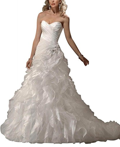 Zug Brautkleider BRIDE ueber Satin Kapelle Hochzeitskleider GEORGE Organza Weiß Tiered Y0wqqpv