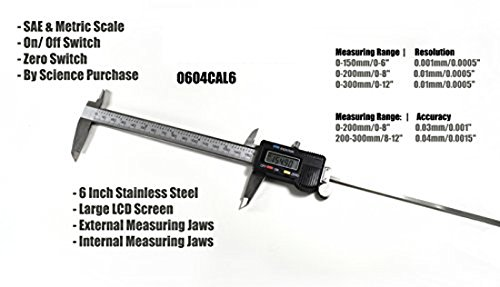 Science Purchase 0604CAL6$ Stainless Steel Electronic LCD Digital Vernier Caliper Gauge Micrometer with Carrying