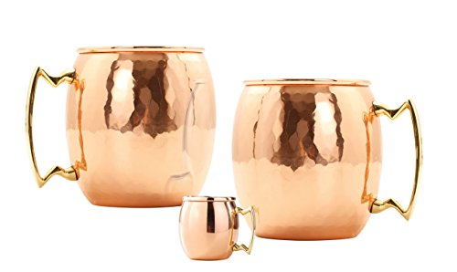 Old Dutch 2-Pack 24 Oz Hammered Copper Moscow Mule Mugs with BONUS Mini Mug by Old Dutch
