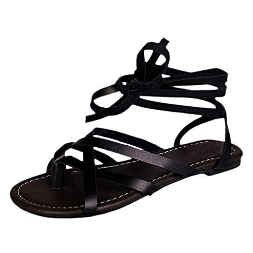 Gladiator Flat Sandals for Women,SMALLE◕‿◕ Women Summer Shoes Female Flat Sandals Rome Style Cross Tied Sandals Shoes Black