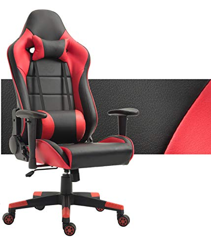 Computer Gaming Chair High Back Ergonomic Racing Chair with Footrest Adjustable Height Swivel Office Chair with Headrest Lumbar Support Red