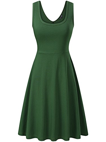 FENSACE Womens Sleeveless Scoop Neck Summer Beach Midi A Line Tank Dress, Green, Medium -
