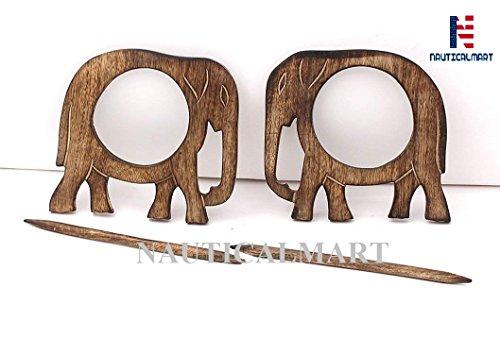 NauticalMart Housewarming Gifts Wooden Elephant Curtain Tie Backs Drapery Holdbacks Rustic Set of Two (Holdbacks Wood Curtains)