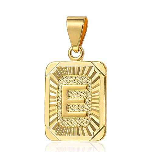 (Trendsmax Mens Womens Yellow Gold Plated Square Capital Letter E Pendant Only No Chain)