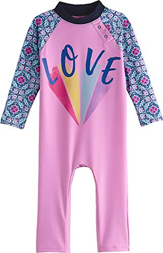 Coolibar UPF 50+ Baby Beach One-Piece Swimsuit - Sun Protective (6-12 Months- Orchid Pink Love Heart) (Protective Baby Suit)