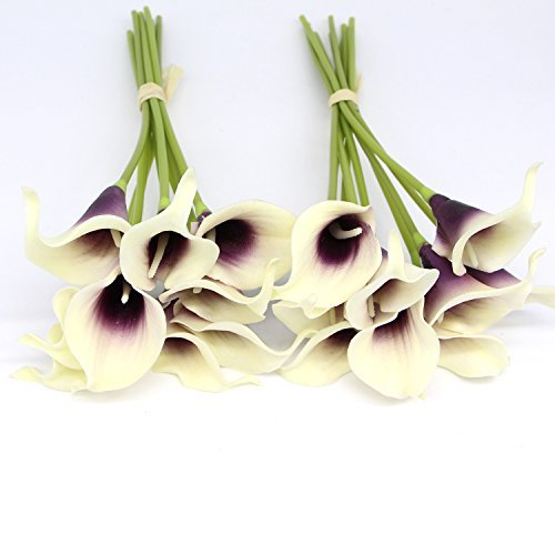 KRexpress 18pcs Home Garden Hotel Party Event Christmas Wedding Gift Decoration Artificial Flowers Calla Lily,Purple in White (Calla Lilies Delivery)