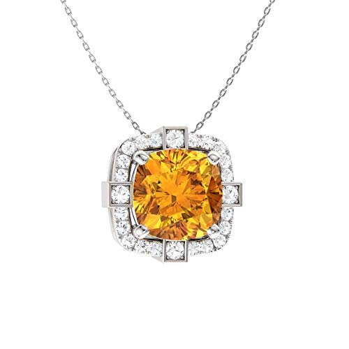 - Diamondere Natural and Certified Cushion Cut Citrine and Diamond Halo Necklace in 14k White Gold | 0.79 Carat Pendant with Chain