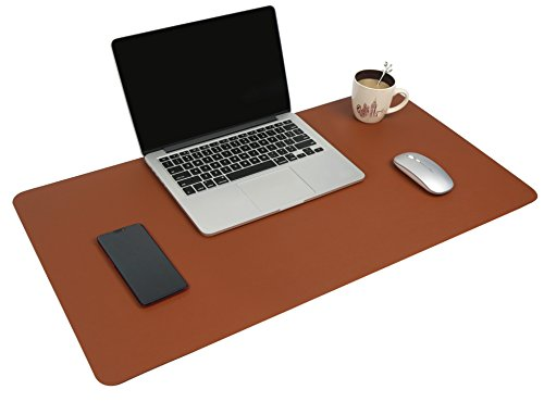 Multifunctional Office Desk Pad, 31.5'' x 15.7'' YSAGi Ultra Thin Waterproof PU Leather Mouse Pad, Dual Use Desk Writing Mat for Office/Home (31.5'' x 15.7'', Dark Brown) by YSAGi