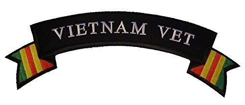 Large VIETNAM VET with RIBBON Top Rocker Jacket Patch - Vivid Color - Veteran Owned Business ()