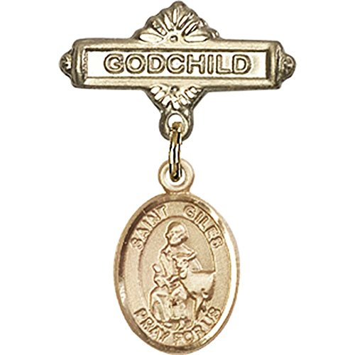14kt Yellow Gold Baby Badge with St. Giles Charm and Godchild Badge Pin 1 X 5/8 inches by Bonyak Jewelry Saint Medal Collection