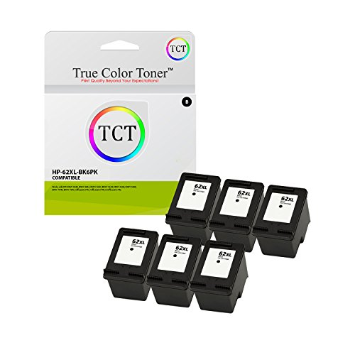 True Color Toner 62XL Black 6 Pack High Yield Compatible Ink Cartridge C2P05AN 62 XL Replacement for HP Envy 5640 5642 5643 5644 5646 5660 7640 7645 OfficeJet 5745 5740 5742 5743 Printers (600 Pages)